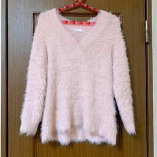 エル(ELLE)のELLE 美品 シャギーニット ピンク vネック デート(ニット/セーター)