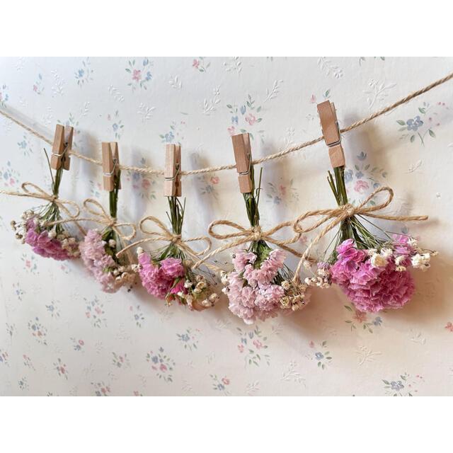 3種のピンクのバラとかすみ草淡いピンクドライフラワーガーランド♡スワッグ♡ブーケ ハンドメイドのフラワー/ガーデン(ドライフラワー)の商品写真
