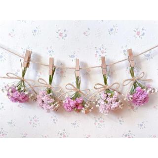 3種のピンクのバラとかすみ草淡いピンクドライフラワーガーランド♡スワッグ♡ブーケ(ドライフラワー)