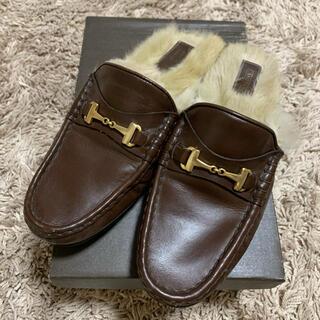 アパルトモンドゥーズィエムクラス(L'Appartement DEUXIEME CLASSE)のCAMINANDO ファー付きビットローファー ブラウン サイズ7(ローファー/革靴)