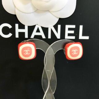 シャネル(CHANEL)の正規品 シャネル ピアス ココマーク ゴールド スクエア レッド ロゴ ピンク(ピアス)