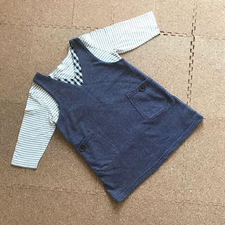 MUJI (無印良品) - ジャンパースカートとTシャツのセット 110cm