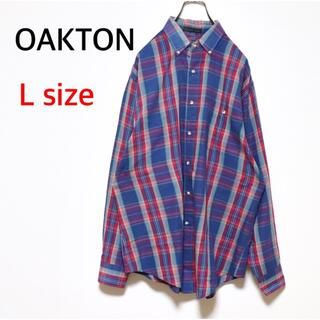 サンタモニカ(Santa Monica)のOLD USED 古着 チェックシャツ 長袖 オーバーサイズ レトロ デザイン(シャツ)