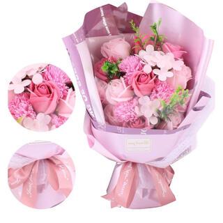 ソープフラワー プレゼント 造花 花 花束 薔薇 ピンク 新品 バラ(ドライフラワー)