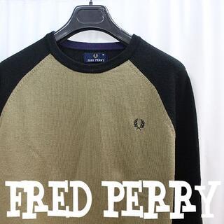フレッドペリー(FRED PERRY)のフレッドペリー背中フラッグチェック柄ウールニットセーターモッズ細身ラグランM黒(ニット/セーター)
