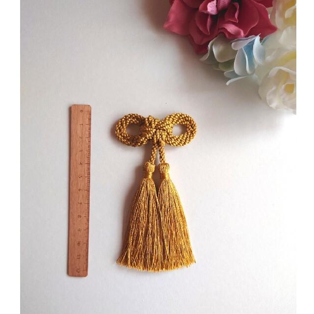 髪飾り 二重叶結び(ゴールド)卒業式 成人式 七五三 ハンドメイドのアクセサリー(ヘアアクセサリー)の商品写真