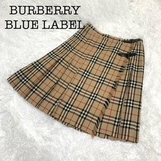 BURBERRY BLUE LABEL - バーバリーブルーレーベル ノバチェック ベルト プリーツ 膝丈 巻きスカート