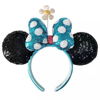 Disney - 新発売❣️ディズニー水色リボン クラシック水玉&お花 ミニーカチューシャ