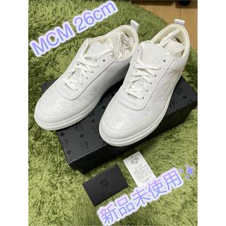 エムシーエム(MCM)のセール✨【新品】MCM モノグラム レザースニーカー ホワイト 26cm(スニーカー)