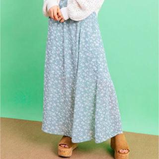 ワンウェイ(one*way)のワンウェイ 花柄 小花柄ロングスカート 水色 ブルー フレアスカート 春(ロングスカート)