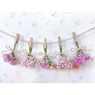 3種のピンクのバラとかすみ草のベージュピンクドライフラワーガーランド♡スワッグ♡(ドライフラワー)