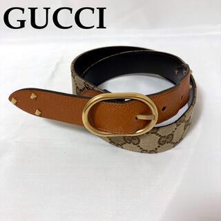 Gucci - グッチ GUCCI ベルト レザー×キャンバス GG柄 ゴールド ヴィンテージ