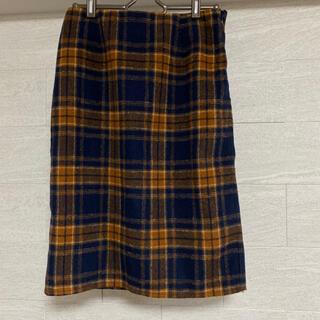 グラスライン(Glass Line)のグラスライン ネイビー×オレンジ チェック柄 スカート(ひざ丈スカート)