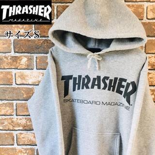 THRASHER - 【希少】スラッシャー スウェットパーカー  サイズS グレー デカロゴ ゆるだぼ