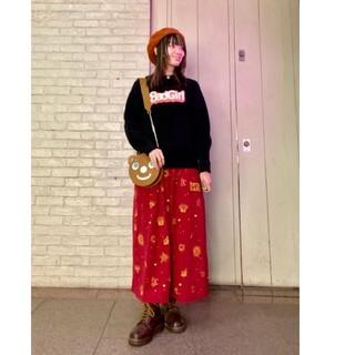 ヒステリックグラマー(HYSTERIC GLAMOUR)のヒステリックグラマー GOTHIC柄刺繍スカート スカート レッド 赤 キューン(ロングスカート)
