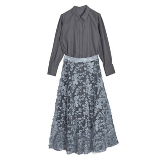 アメリヴィンテージ(Ameri VINTAGE)のLACE LAYERED SHIRT DRESS アメリヴィンテージ(ロングワンピース/マキシワンピース)