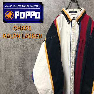 Ralph Lauren - チャップスラルフローレン☆ロゴタグ入りボールドマルチストライプシャツ 90s
