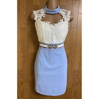 dazzy store - ラメレース/ウエストシースルー/ベルトデザインドレス