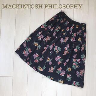 マッキントッシュフィロソフィー(MACKINTOSH PHILOSOPHY)のMACKINTOSH PHILOSOPHY花柄フレアプリーツスカートネイビー36(ひざ丈スカート)