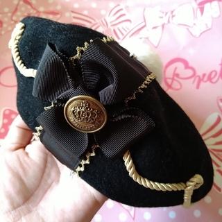 アンジェリックプリティー(Angelic Pretty)の王冠ベレー 黒(ハンチング/ベレー帽)