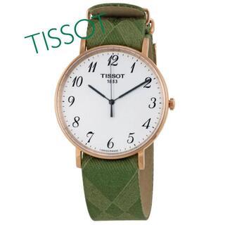 ティソ(TISSOT)のTISSOT ティソ Everytime 42mm径 緑ストラップ 新品未使用(腕時計(アナログ))