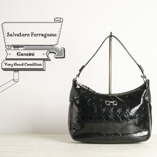 Salvatore Ferragamo - フェラガモ 極美品 ガンチーニ パテント レザー ハンド バッグ ブラック