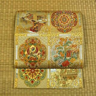 シルバーに本金箔綴れ正倉院 袋帯(帯)