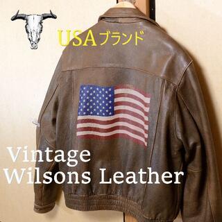 ウィルソン(wilson)の珍【USAブランド-ウィルソンズレザー】星条旗 アメリカ キングヌー 茶 ラルフ(レザージャケット)