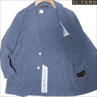 イルファーロバイルチアーノバルベラ(ILFARO by LUCIANO BARBERA)のJ3079 美品 イルファーロ リネンブレンド テーラードジャケット ブルー系S(テーラードジャケット)