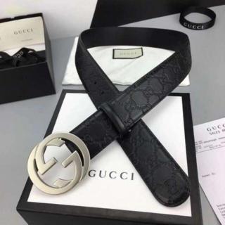 Gucci - グッチ 大人気 ダブルGバックル レザー ベルト 4.0 cm幅