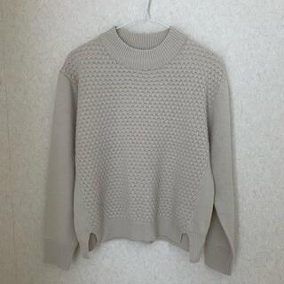 ショコラフィネローブ(chocol raffine robe)のニット セーター プチハイネック ベージュ 白 オフホワイト(ニット/セーター)