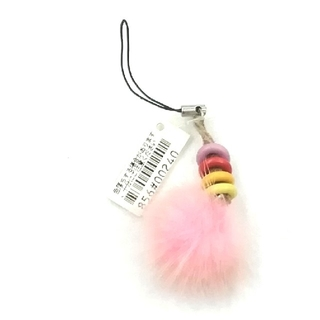 ファー携帯ストラップ ピンク 送料無料300円(キーホルダー)
