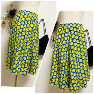 ブラーミン(BRAHMIN)の*Brahminブラーミン*リンゴのプリント模様スカート Mサイズ相当 日本製(ひざ丈スカート)