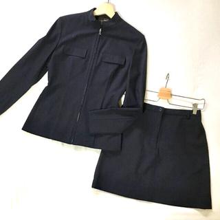 カルバンクライン(Calvin Klein)のCalvin Klein 薄手セットアップ ジップアップ タイトミニ M紺 美品(セット/コーデ)