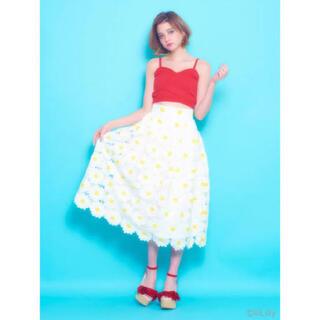 lilLilly - フラワー刺繍ロングスカート
