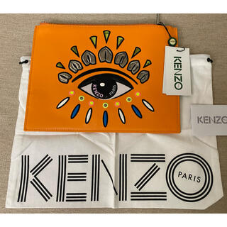 ケンゾー(KENZO)の新品 KENZO Paris ロゴ刺繍 レザークラッチバッグ オレンジ(クラッチバッグ)