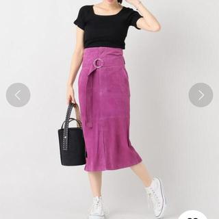 IENA - スエードスカート 本革 ハイウエストスカート ベルトスカート