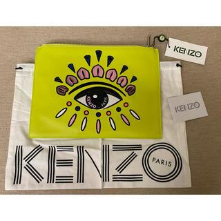ケンゾー(KENZO)の新品 KENZO Paris ロゴ刺繍 レザークラッチバッグ ユニセックス(クラッチバッグ)