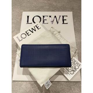 ロエベ(LOEWE)のロエベ LINEN LONG HORIZONTAL 二つ折り長財布 ネイビー(長財布)