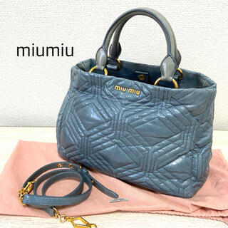 miumiu - miumiu ハンドバッグ ショルダーバッグ マトラッセ トートバッグ ブルー