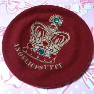 アンジェリックプリティー(Angelic Pretty)の王冠ビジューベレー ワイン(ハンチング/ベレー帽)