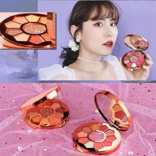 新品 アイシャドウ パレット 中国コスメ  赤 オレンジ ピンク 茶 グリッター(アイシャドウ)