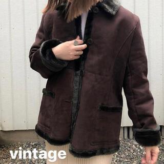 【本日のみ価格】USED vintage  ボアムートンジャケット  ブラウン(ムートンコート)