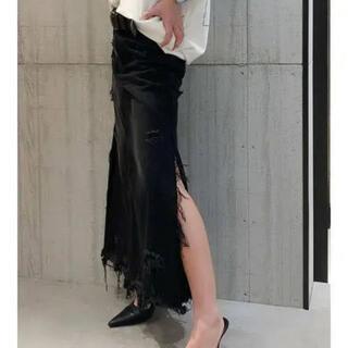 【美品】GYDA サイドスリットデニムロングスカート ブラック M 黒