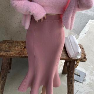 FRAY I.D - 裾フリル膝丈スカート(ピンク)