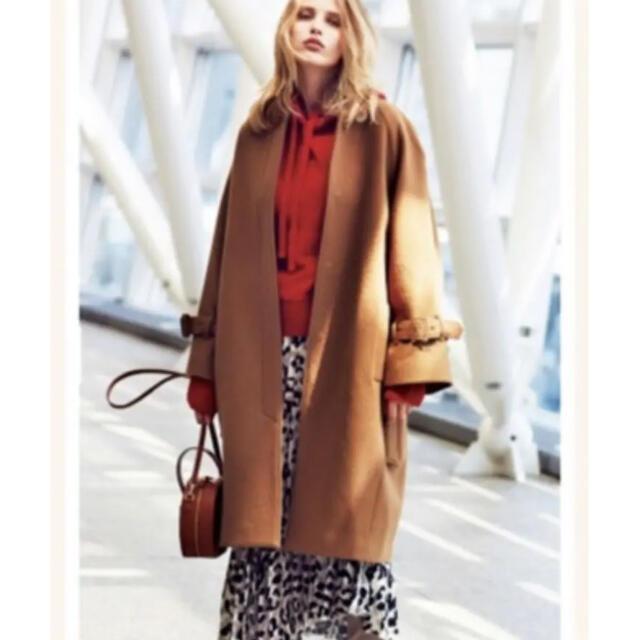 Mila Owen(ミラオーウェン)のミラオーウェン ボリュームスリーブノーカラーコクーンコート レディースのジャケット/アウター(ロングコート)の商品写真
