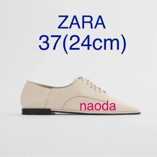 ザラ(ZARA)の【タグ付き新品】ザラ スクエアトゥ リアルレザー フラットシューズ(ローファー/革靴)
