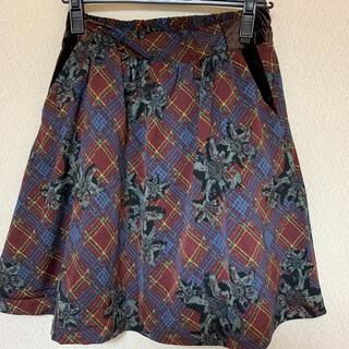 アズノゥアズピンキー(AS KNOW AS PINKY)のアズノゥアズ ピンキー スカート チェック 花柄(ひざ丈スカート)
