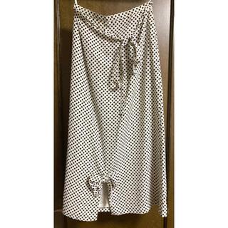 インゲボルグ(INGEBORG)のインゲボルグ リボン ドット柄 ロングスカート 白黒 水玉 ヴィンテージ 美品(ロングスカート)