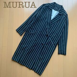 ムルーア(MURUA)のMURUAロングコート ダブルトレンチ ストライプ ネイビー グリーンS緑(ロングコート)